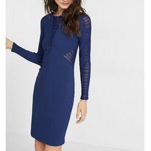 Express Midnight Long Sleeve Mesh Detailing Dress